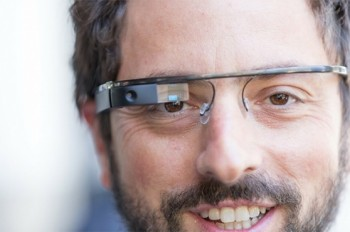 Google co-founder Sergey Brin shows off the company's high-tech eye wear.