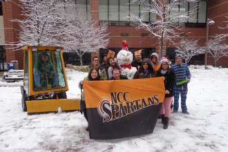 A three-inch snowfall on December 10 lead to a life-sized Frosty for these Spartans.