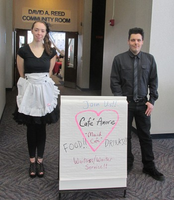"""The staff dressed the part with girls as maids and guys as butlers. They welcomed guests by greeting them as """"master"""" and """"mistress"""" before taking them to their seats. Photo credit Mitchell Indelicato"""