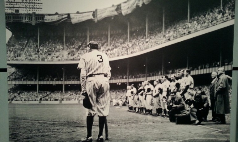 This famous photo of Babe Ruth at Yankee Stadium is among an exhibit of stunning Pulitzer Prize-winning photos. Photo courtesy The Commuter.